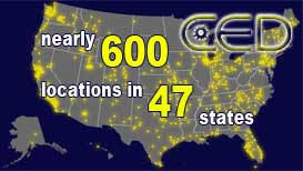 US Map CED locations Nationwide